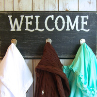 Coat Rack Welcome Sign,Entryway Coat Hooks,Front Porch Decor,Entryway Organizer,Mud Room Organizer,Mud Room Sign,Welcome Home Coat Rack