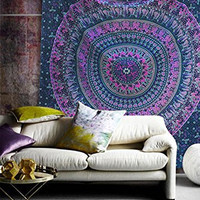 Popular Handicrafts Hippie Mandala Bohemian Psychedelic Intricate Floral Design Indian Bedspread Magical Thinking Tapestry 84x90 Inches,(215x230cms) Blue Pink