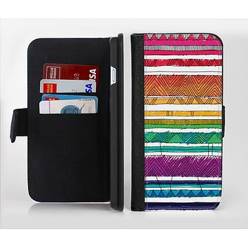 The Crayon Colored Doodle Patterns Ink-Fuzed Leather Folding Wallet Credit-Card Case for the Apple iPhone 6/6s, 6/6s Plus, 5/5s and 5c