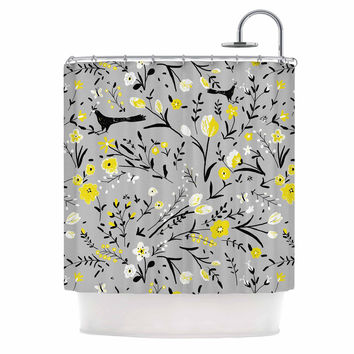 "Laura Nicholson ""Blackbirds On Gray"" Gray Yellow Shower Curtain"