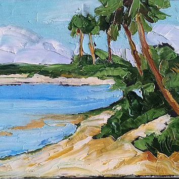 Impressionist FLORIDA Beach PALMS Plein Air Seascape Pacific Gulf Painting 11x14 Landscape Art Lynne French FREE Shipping