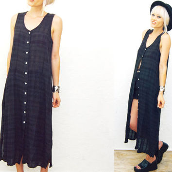 VTG 90s Plaid black Sheer Duster  Maxi Dress / Long Dress / 1990s / See thru / Sun Dress / Check