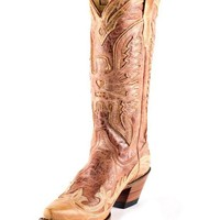 Corral Women's Antique Cognac/Cream Wingtip Eagle Boot - R2227