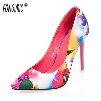 Women summer spring satin new thin high heels hot sale printing flowers classic high quality pointed toe women pumps women shoes