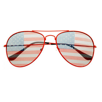 USA Flag Patriotic Mens Womens Fashion Party Metal Aviator Sunglasses A1610