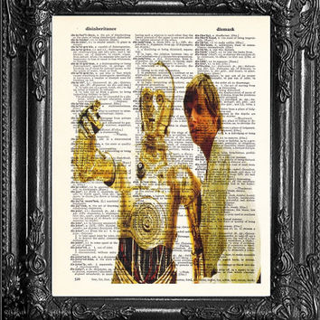 Luke and C3PO Star Wars Art-First ANNIVERSARY GIFT Man-Gift for Friend-Gift Man-Husband GIFT- Birthday Gift- Boyfriend Gift-Star Wars Print