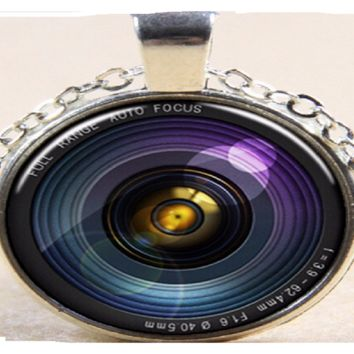 Antique Silver Plated Round Camera Lens Pendant Necklace for Men Women Best Friends Forever