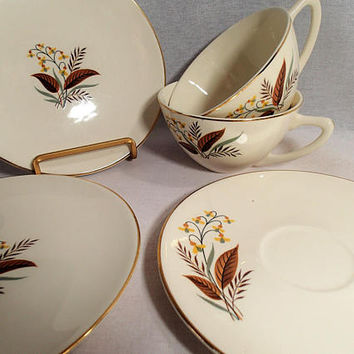 "Edwin Knowles ""Harmony"" Vintage 1950's Dinnerware Cups and Saucers Yellow flowers, gray/green and brown leaves and ferns"