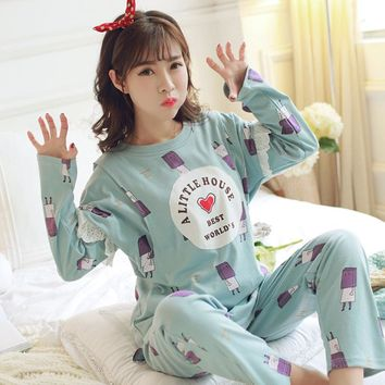 A05# Autumn Korean Fashion Cute Maternity Nursing Sleepwear Sets Cartoon Printed Cotton Breastfeeding Clothes for Pregnant Women