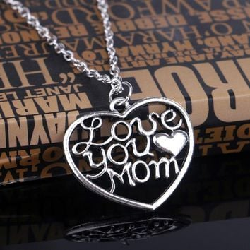 "New Fashion Mother's Day Gift ""Love You Mom"" Letter Heart Pendent Necklace Chain Silver New Personalized Jewelry for Mum"