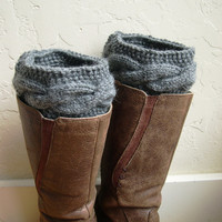 SALE - Gray Boot cuffs - Gray Legwarmers - Gray boot toppers - Winter Fashion 2014 - Knit boot tops - Machine Washable - Gray boot tops
