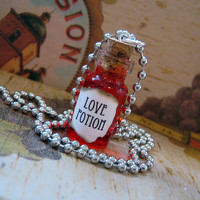 Love Potion - Glass Bottle / Glass Vial Pendant Necklace Charm Valentine's Day