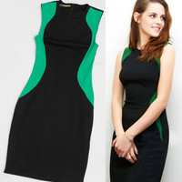 Celebrity Style Black And Green Color Block Slim Fit Chic Dress. Work Dress