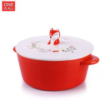 ONEISALL C006 650ML Porcelain Cute Fox Cartoon Noodles Bowl Novelty Ceramic Lovely Serving Cereal Rice Bowl for Children Kids