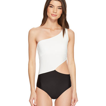 MICHAEL Michael Kors Geometric Glamour Solids One Shoulder Cut Out One-Piece Swimsuit w/ Zipper & Removable Soft Cups