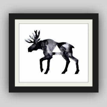 Print  Geometric Moose  Print from an Original by GeometricInk
