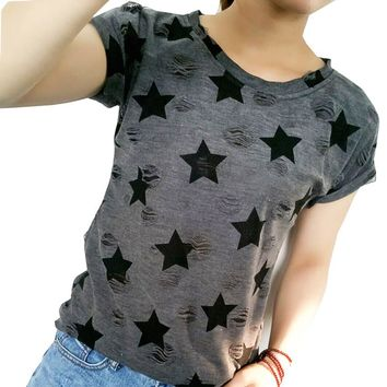 2017 New Women Summer Casual Basic T-shirt Stars printed Top Tee short sleeves hole Plus Size Cotton blusas
