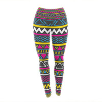 "Fimbis ""Keef"" Yellow Magenta Yoga Leggings"
