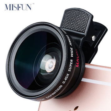 Universal Professional HD Camera Lens 0.45x Super Wide Angle Lens + Macro Lens for iPhone 5s 6 6s 7 Plus Samsung Mobile Phone