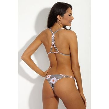Molokini Strappy Low Rise Bikini Bottom - Dragon Stripe Floral Print