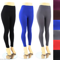 Womens Plus Size Leggings Solid Color Plain Basic Spandex Stretch Pant Tights XL