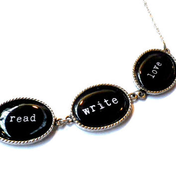 read write love necklace