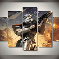High Quality Printed Star Wars Film Group Painting Children'S Room Decor Print Poster Picture Canvas Modular picture (Unframed)