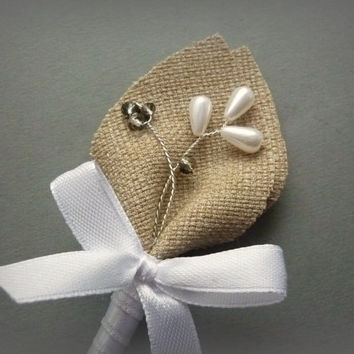 Burlap Wedding Men Accessories, Man, Groom's Boutonniere with white bow, Pin, Groomsmen, Country Weddings, Shabby Chic, White & Gray Wedding