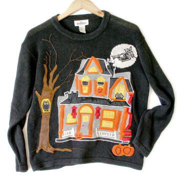 Creepy Haunted House Tacky Ugly Halloween Sweater - The Ugly Sweater Shop