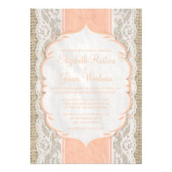Coral Rustic Lace Wedding Invitations