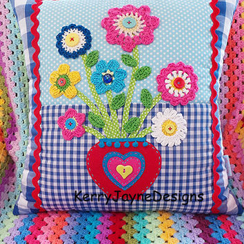 CROCHET PILLOW, PATCHWORK Cushion, applique pillow, Vase of flowers, Crochet cushion, Lovely gift for a special person, Kerry Jayne Designs