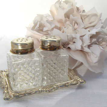 Vintage Miniature Crystal Salt Pepper Shakers Silver Tray
