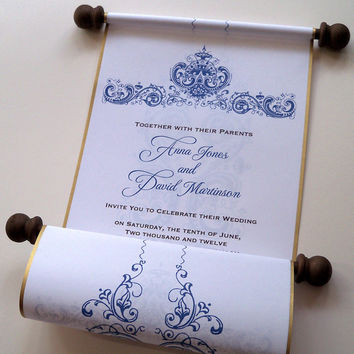 Wedding invitation scroll with antique flower damask border with metallic edging, set of 10