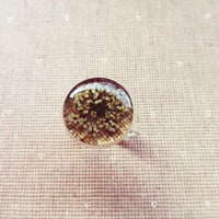Linen and Dried Flower Ring Resin Jewelry Resin Ring Botanical Wedding Bridesmaid Jewelry Woodland Wedding Nature Inspired Rustic Wedding