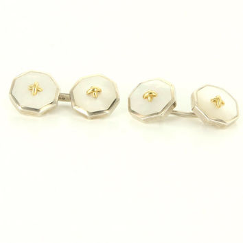 Vintage 925 Sterling Silver Mother Of Pearl Mens Cufflinks Shirt Studs Set Estate Jewelry