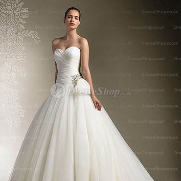 Ballgown Sweetheart Sweep Train Tulle White Wedding Dress With Rhinestone at Dresseshop