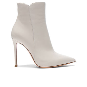 Gianvito Rossi Nappa Leather Levy Ankle Boots in Off White | FWRD