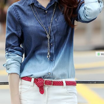 CUTE GRADIENT JEANS TOP SHIRTS