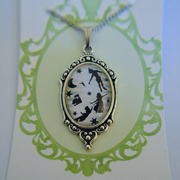 Peter Pan - Peter, Wendy, John and Michael silhouette  necklace