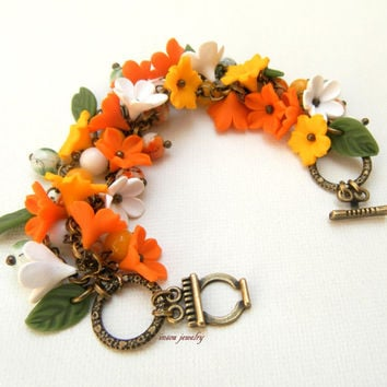 Orange yellow jewelry - Flower bracelet - Spring bracelet - Handmade bracelet
