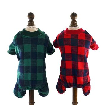 Pet Cat Dog Clothes Warm Fleece Dog Jumpsuit Plaid Suit Hoodies for Small Dogs Cats and Winter Puppy Outfits XS S M L XL