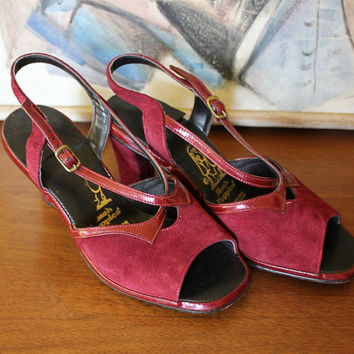 Vintage Suede Heels Burgundy Red Sandal 70s Hush Puppies Retro Slingback Leather Shoes Size 37 US 6.5