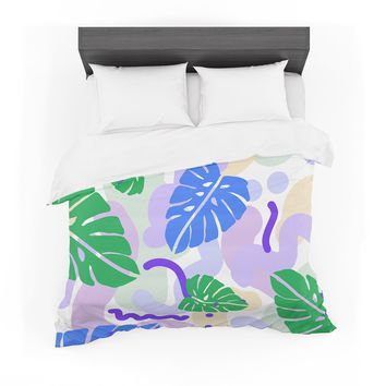 "Vasare Nar ""Monstera Tropical Plant"" Blue Lavender Digital Featherweight Duvet Cover"