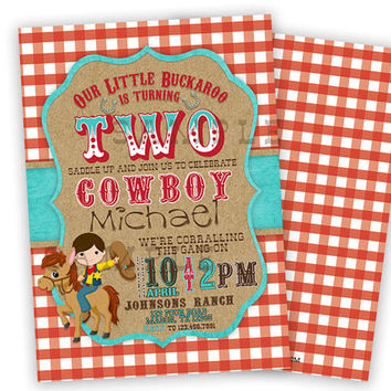 Western Cowboy Birthday Party Invitations - 3rd Birthday Boy Invite - 1st Country Cowboys - 2nd Birthday Two Turquoise Buckaroo Yeehaw Ideas