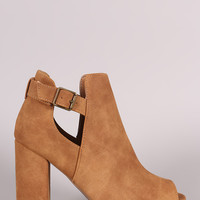 Qupid Distressed Slit Peep Toe Booties