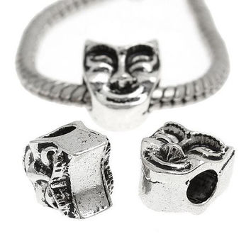 Pandora Polishing Cloth + Smiling Drama Comedy Theatre Mask European Charm | Silver Toned Happy Spacer for Earrings Necklace or Bracelet