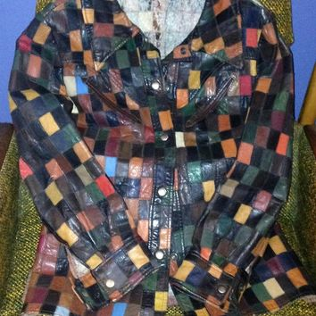 Patchwork Leather Vintage Jacket- Awesome!