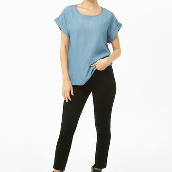 Chambray Cuffed-Sleeve Top