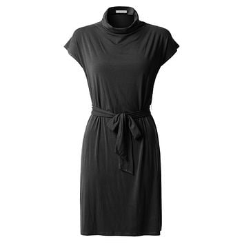 LE3NO Womens Stretchy Short Sleeve Turtleneck Midi Tunic Dress with Belt