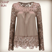 GUMPRUN Plus Size 7XL Shirt Chiffon Blouse Sexy Hollow Lace Splice Women Tops Long Sleeve Shirt Women Casual Blusas Women Tops